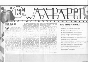 Wax Paper Vol 2 Issue 1 (2 plays)